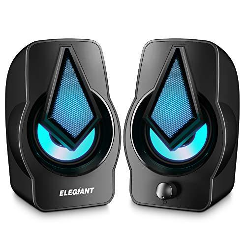 ELEGIANT Casse PC, 10W Altoparlante USB LED Speaker Portatile per Computer Notebook Laptop MP3...