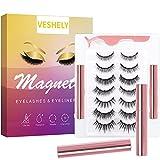 VESHELY Magnetic Eyelashes with Eyelier Kit,3D Natural Look Magnetic Lashes and Liner Set 2021 Upgraded,7 Pairs Reusable False Fake Eyelash Short and Long - Easy to Wear