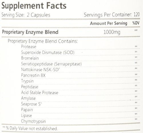 HCP Formulas Fibrenza Systemic Enzymes - 500 mg - 240 Capsules 2