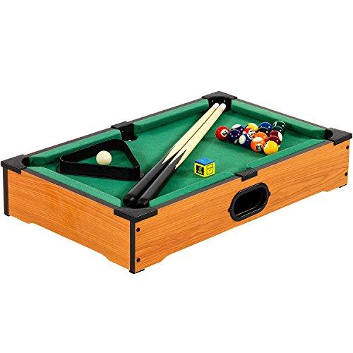 Mini Pool Billardtisch inkl. Zubehör (2 Queues, Kugeln, Dreieck, Kreide), 3 Dekore, Maße: 51x31x10cm