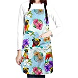 Waldeal Funny Hawaii Pug Kitchen Cooking Apron Waterproof Chef Bib Apron Adjustable with 2 Pockets for Men Women