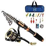 BNTTEAM Combinaison Canne à pêche et Roue de pêche 1.8m 2.1m 2.4m 3.0m...