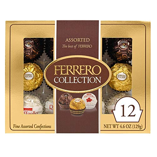 Ferrero Rocher Collection, Fine Hazelnut Milk Chocolates, 12 Count, Christmas Gift Box, Assorted Coconut Candy and Chocolates, 4.6 oz, Perfect Stocking Stuffers