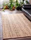Unique Loom Braided Jute Collection Hand Woven Natural Fibers Natural/Beige Area Rug (9' 0 x 12' 0)