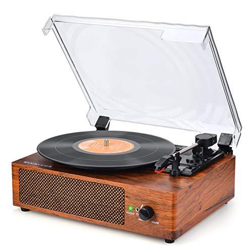 Platine Vinyle Bluetooth Tourne Disque de Conversion avec Trois Vitesses 33/45/78 et Enceintes Stéréo Rétro Entraînement par Courroie Portable Platine Vinyle Plug Play RCA AUX