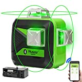 Huepar 3x360 Green Beam 3D Laser Level with Bluetooth Connectivity, Three-Plane Self-Leveling and Alignment Cross Line Laser Level-One 360° Horizontal and Two 360° Vertical Lines Laser Tool 603CG-BT