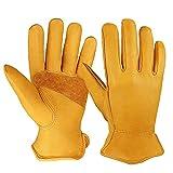 OZERO Flex Grip Leather Work Gloves Stretchable Wrist Tough Cowhide...