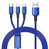 Câble Multi USB, AVIWIS 3 en 1 Multi Chargeur USB Câble en Nylon Tressé avec...