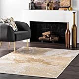 nuLOOM Cyn Abstract Area Rug, 5 Feet, Gold