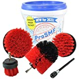 ProSMF Drill Brush Attachment - Power Scrubber for Cleaning - Garage - Siding - Patio - Decks - Bird Bath - Brick - Stone - Outdoors - Household Cleaning Tools - Heavy Duty - Red - Stiff Bristles