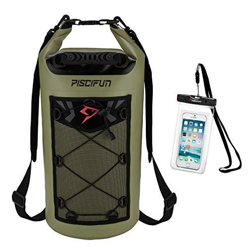 Piscifun Waterproof Dry Bag Backpack 10L Floating Dry Backpack with Waterproof Phone Case for Water...