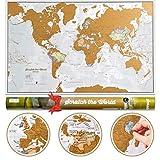 Carte du Monde à gratter avec comme cadeau un tube de transport - Très grand format - 84 x 59 cm -...