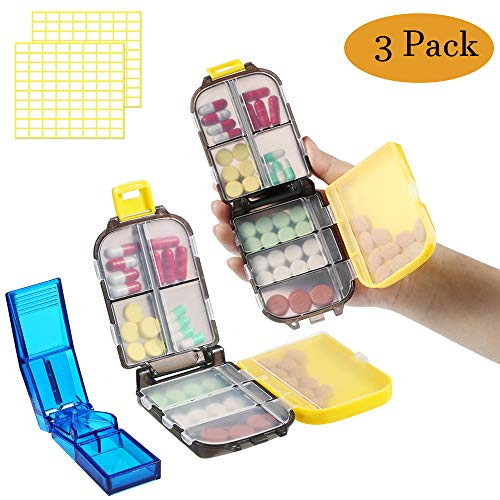 Pill Splitter, Pill Cutter for Small or Large Pills, and 2 Pack Pill Organizer