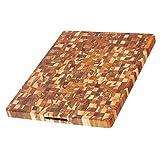 Teak Cutting Board - Rectangle End Grain Butcher Block (24 x 18 x 1.5 in.) - By Teakhaus