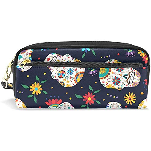 Makeup Brush Bag,Sugar Skull Decoration Pen Zipper Bag, Astucci Portamatite Fantastici Per Uomo...