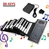 EOSAGA 88 Keys Roll Up Piano Keyboard Portable Electric Hand Roll with Environmental Silicone Piano Keyboard