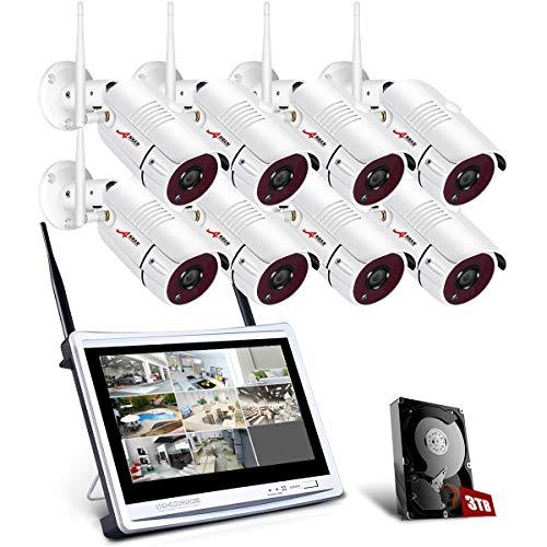 【Tutto in Uno】1080P Kit Videosorveglianza WiFi con Monitor LCD da 12, ANRAN 8ch Sistemi di Sicurezza Domestica, 8 Videocamere di Sorveglianza, 3TB Disco Rigido, Accesso Remoto, Visione Notturna