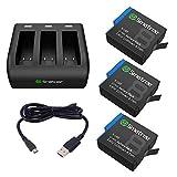 Smatree 3 batterie con caricabatterie a 3 canali compatibile con GoPro Hero 8 Black / 7/6 Black e Hero 5 Black Firmware V2.70