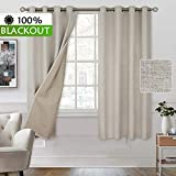 BGment 100% Blackout Curtains with Liner for Bedroom, Grommets Thermal Insulated Textured Linen Lined Curtains for Living Room (52 x 63 Inches, 2 Panels, Beige)