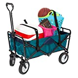 MacSports Heavy Duty Collapsible Outdoor Folding Wagon Portable Lightweight Utility Cart Adjustable Rolling Cart All Terrain Sports Wagon Beach Wagon (Teal/Navy + Straps)
