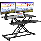 Quick Sit to Stand Desktop Gas Spring Riser (Max Height:19.3inch), 33 inch Height Adjustable Standing Desk Converter for Dual Computer Monitors & Laptop Workstation, Perfect Home Office by HUANUO