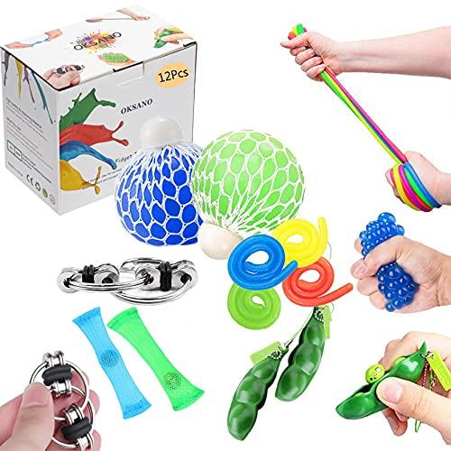 OKSANO Juguetes Sensoriales antiestres 12Pcs, Juguetes Autismo Fidget para niños y Adultos Fiddle Toys for ADHD, Pelota antiestres, Flippy Chain, Soybean Stress Toys, Twisting Toys Esperar