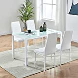 IDS Online MLM-17429-4-W Modern Glass Dining Table Set with Foot Pad, 5 Piece, White