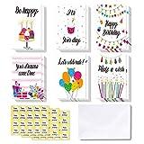 48 tarjetas de Feliz Cumpleaos Ohuhu. Tarjeta doblada ideal para cumpleaos de nios, tarjetas de felicitacin interior en blanco/sobres y calcomanas con vela, pastel, globos, regalos