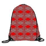 uykjuykj Bolsos De Gimnasio,Mochilas,Irregular Fishes Sackpack Drawstring Backpack Waterproof Gymsack Daypack For Men Women Red and white8 Lightweight Unique 17x14 IN
