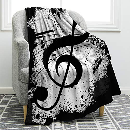 Jekeno Music Note Blanket Soft Comfortable Blanket for Sofa Chair Bed Office 50