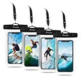 Procase Universal Cellphone Waterproof Pouch Dry Bag Underwater Case for iPhone 11 Pro Max Xs Max XR X 8 7 6S+ SE 2020, Galaxy S20 Ultra S10 S9 S8/Note10+ 9 up to 6.9'- 4 Pack, Clear