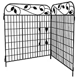 Amagabeli Decorative Garden Fence Coated Metal Outdoor Rustproof 44in x 6ft Landscape Wrought Iron Wire Fencing Gate Border Edge Folding Patio Fences Flower Bed Animal Barrier Section Edging Black