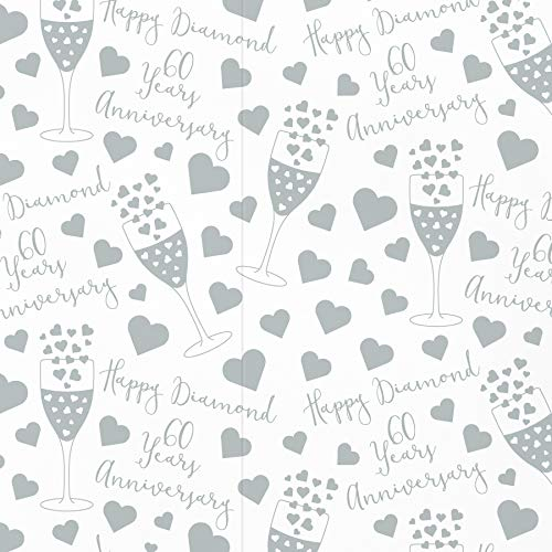 60th Diamond Wedding Anniversary Wrapping Paper and Tags (1 Sheet & 2 Tags) - by Hunts England - Iconic Collection