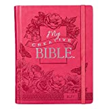 KJV Holy Bible, My Creative Bible, Pink Hardcover Faux Leather Journaling Bible w/Ribbon Marker, 400 Scripture Illustrations to Color, King James Version