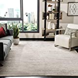 Safavieh Adirondack Collection ADR113B Modern Ombre Non-Shedding Stain Resistant Living Room Bedroom Area Rug, 8' x 8' Square, Ivory / Silver