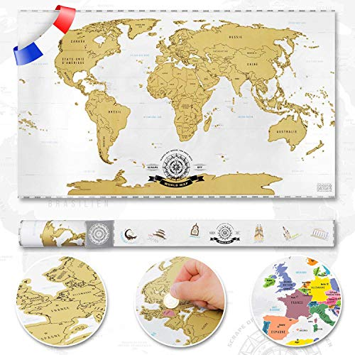 Scrape off World Map - Carte du monde à gratter - Carte mondiale en...