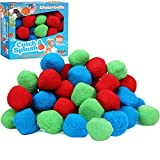 High Bounce 50 Reusable Water Balls - Highly Absorbent Cotton Splash Soaker Bomb Ball- Child Friendly Outdoor Indoor Pool and Ball Pit Activity for Girls and Boys