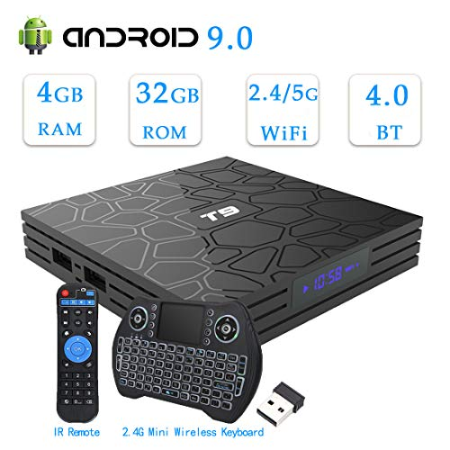 Android 9.0 TV Box,EASYTONE T9 Android TV Box 4GB Ram 32GB Quad Core/ 64 Bits/2.4+5G Dual WiFi/BT 4.0/H.265/3D/4K Smart Android Boxes with Mini Backlit Keyboard & Remote Control