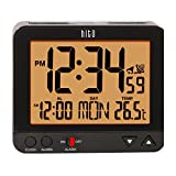 hito 3.8' Digital Battery Atomic Alarm Clock Bedside Travel Auto Time Set Auto Night Light Date Day Indoor Temperature 4 Timezones for Bedroom Office Desk