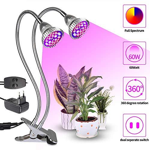 LED Pflanzenlampe 60W dual Kopf Pflanzenleuchte Voll Spektrum Pflanzenlicht Wachstumslampe Klemmleuchten mit 360 Grad Flexible Gooseneck für Büro Garten Aquatische Pflanzen Blumen Veg Sämlin