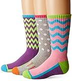 Jefferies Socks Little Girls Sporty Half Cushion Crew Socks 3 Pair Pack, Multi, Large