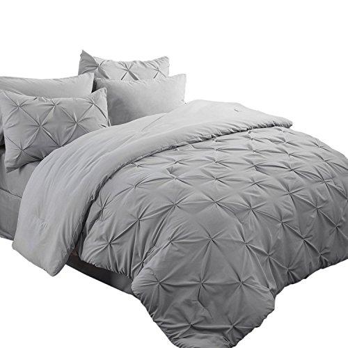 Bedsure Comforter for Queen Bed Queen Comforter Set Bed in A Bag Grey 8 Pieces - 1 Queen Comforter (88x88 Inches),...