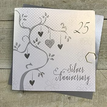 white cotton cards Silver Wedding, Handmade 25th Card (Anniversary Tree, Code AB25)
