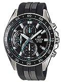 Casio EDIFICE Reloj en caja sólida de acero inoxidable, 10 BAR, Negro/Azul, para Hombre, con Correa...