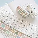 BLOUR Etiqueta engomada de la Etiqueta de la Fecha del número de Color Fresco de WOKO Calendario Simple semanal Diario Troquelado Kawaii Washi Tape DIY Scrapbooking Cinta Adhesiva