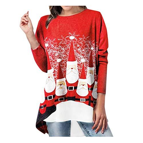 Christmas Women's Fashion Plus Size Long Sleeve Christmas Santa Claus Print Fals Red