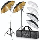 Neewer Flash Mount Three Umbrellas Kit (2) 33'/84cm White Soft/Silver Reflective/Gold Reflective Umbrella for Canon 430EX II,580EX II,Nikon SB600 SB800,Yongnuo YN 560,YN 565,Neewer TT560,TT680