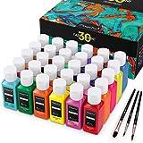 Magicfly Soft Pintura para Tela Textil Ropa Permanente Juego de 30 Colores 60 ML, Lavable & No se Necesita Calefaccin, para Pintar Camisetas, Lona, Bolsas, Vaqueros, Zapatillas