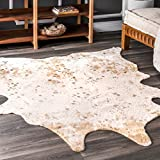 nuLOOM Iraida Faux Cowhide Shaped Rug, 3' 10' x 5', Off-white