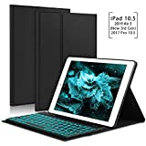 New iPad Air 2019(3rd Generation) 10.5'/iPad Pro 10.5' 2017 Keyboard Case, 7 Colors Backlit Detachable Keyboard Slim Leather Folio Smart Cover for Apple iPad 10.5 inch - Black